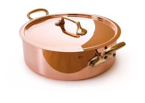 Mauviel Made In France M'Heritage Copper M150B 6506.28 6.2-Quart Saute Pan with Lid and Bronze Handles ()