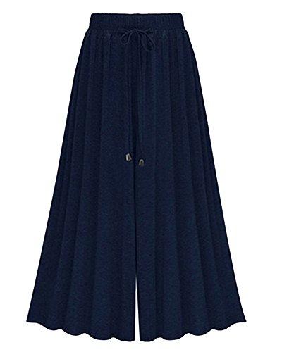 Coulisse Palazzo Con Figura Scuro Da Intera Da Yoga Elastico Alta A Donna Con A Blu Largo Vita Pantalone Pantaloni Qitun pa67O7