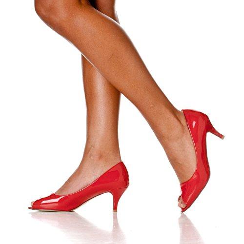 Peep Pumps Kitten Heel Open Women's Red Toe Patent Lydia Riverberry 6tZPx