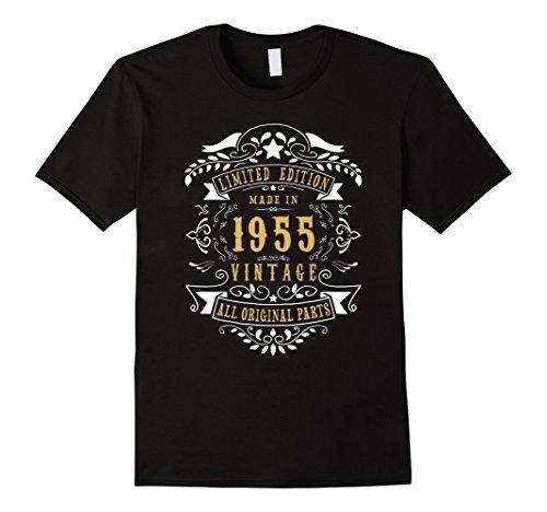 Mens 63 years old Made Birth 1955 63rd Birthday Bday Gift T-Shirt Large Black