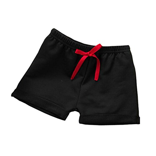 Hwafan Toddler Baby Boys Girls Solid Color Summer Sport Jogger Active Shorts Pants Black 6-12 Months ()