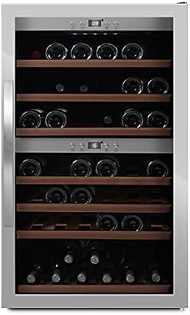 MQuvee WineExpert 66 - Nevera de vino (capacidad para hasta 66 botellas, 2 zonas de temperatura de 5 a 20 °C, altura de 104 cm)[Clase de eficiencia energética A]