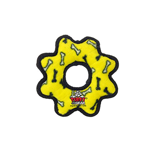 TUFFY- World's Tuffest Soft Dog Toy- Ultimate Gear Ring-Squeakers - Multiple Layers. Made Durable, Strong & Tough.Interactive Play (Tug,Toss & Fetch).Machine Washable & Floats. (Junior, Yellow Bone) (Puppy Fetch Machine)