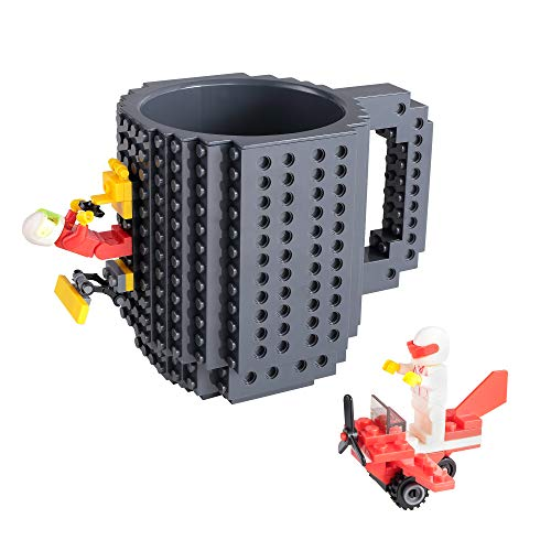 Build-on Brick Mug, Coffee Cup with 2 Pack Building Blocks Toys Set, Novelty Creative DIY Funny Coffee Mugs Toy for Kids…