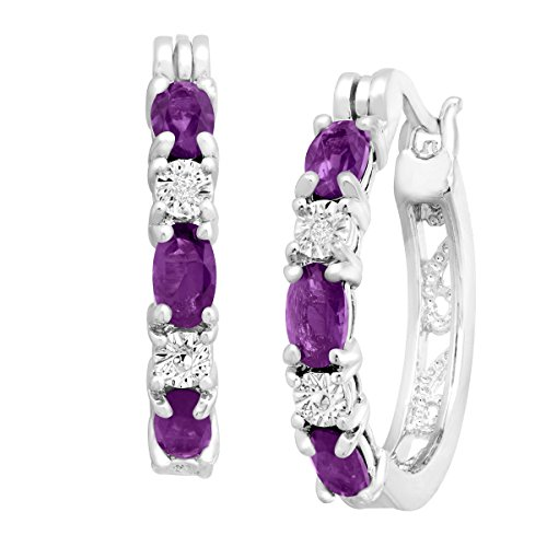 Platinum-Plated Brass 1 3/8 ct Natural Amethyst Hoop Earrings with Diamonds.875