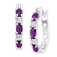 Jewelry.com deals on Finecraft 1 3/8 CT Amethyst Hoop Earrings w/Diamonds Brass