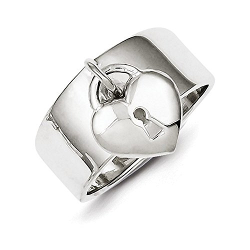 Lock Sterling Silver Italian Charm (Sterling Silver Dangle Lock Ring Size 7)