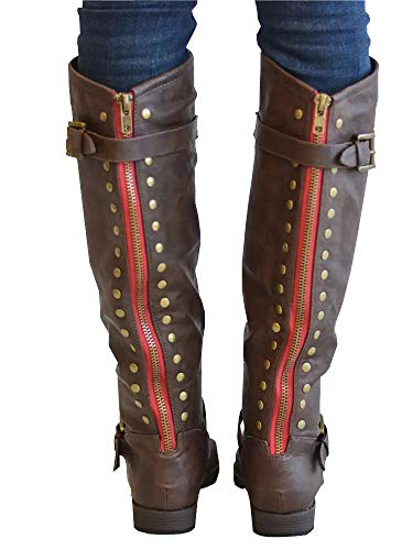 Syktkmx Womens Winter Wide Calf Riding Boots Studded Knee High Moto Chunky Low Heel Boots ()