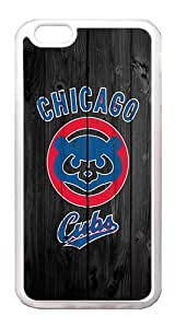 iPhone 6 Case Cover - Wood Unique Design Wood Chicago Cubs TPU Rubber Bumper Case for iPhone 6 4.7 Inch Translucent