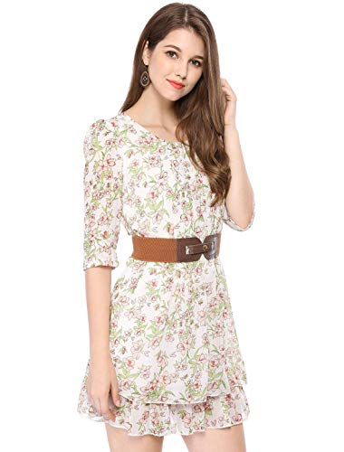 Allegra K Women Layered 3 4 Sleeve Casual Floral Short Dresses Green X-Small