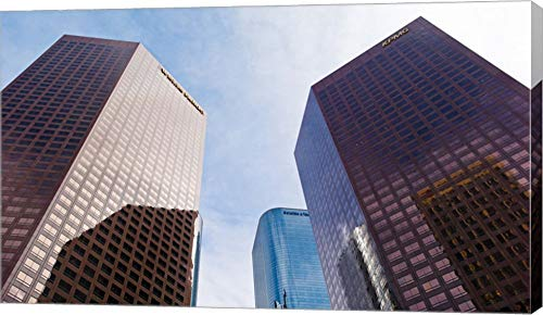 (Low Angle View of Skyscrapers, Wells Fargo Center, California Plaza, Los Angeles, California, USA by Panoramic Images Canvas Art Wall Picture, Gallery Wrap, 36 x 21 inches)