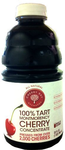 100% Tart Montmorency Cherry Concentrate 32oz Bottle (Case of 8) by Cherry Bay Orchards