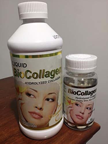 Set Liquid Biocollagen Hydrolized Collagen Plus Vitamin C/Biocollagen (1000 mg) 60 softgels/Promote Healthy Skin, Hair and Nails/Colageno hidrolizado/Fish Collagen