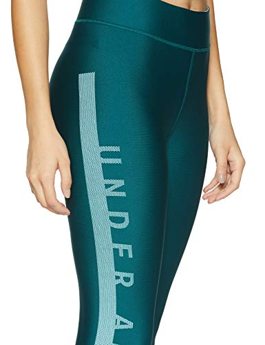Under Armour Women's HeatGear Armour Branded Ankle Crop, Tourmaline Teal (716)/Metallic Silver, Small by Under Armour (Image #4)