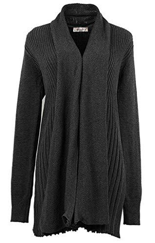 Lunghe Pullover Vintage A Classiche Casual Donna Maniche Cappotto Giacca Donne Relaxed Comodo Autunno Outwear Maglia Dunkelgrau Primaverile YxOqwF