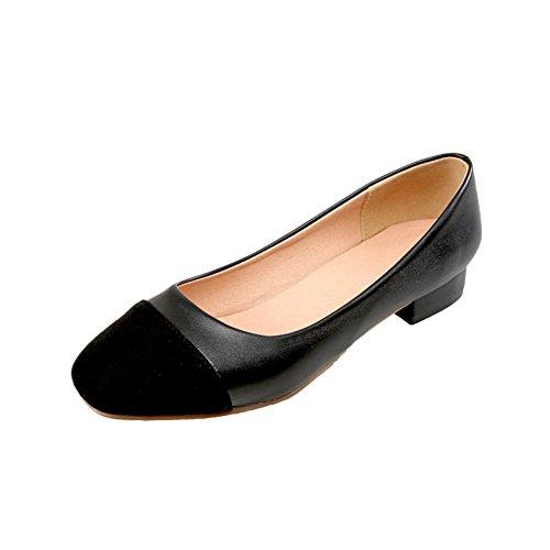 Mee Shoes Damen bequem zweifarbig Niedrig slip on Pumps Schwarz
