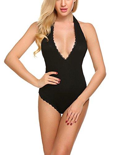 1a033ebd98 Avidlove Women Sexy Halter Bodysuit Deep V Sleeveless Backless Rompers  Overall