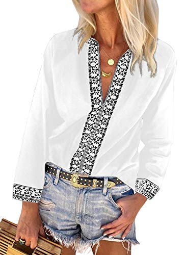 FARYSAYS Women's Boho Embroidered V Neck Long Sleeve Casual T-Shirt Tops Loose Blouse White Medium