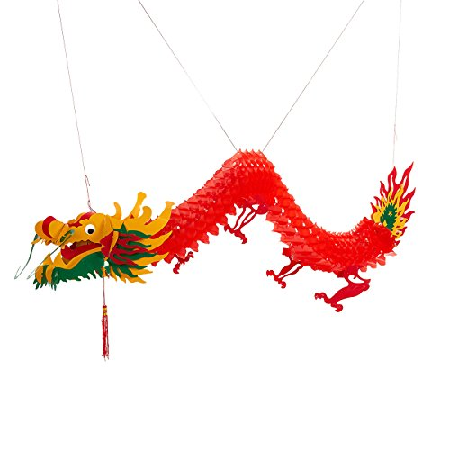 Chinese Dragon - Red Dragon Garland, Hanging Dragon Party Decoration for Chinese New Year, Festival Celebrations, 55.12 Inches (Chinese Dragons)