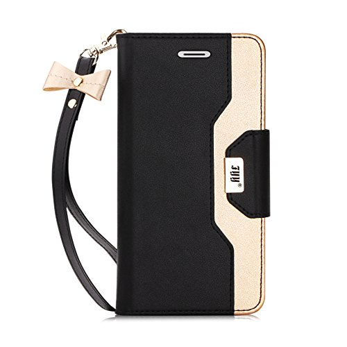 FYY Leather Case with Mirror for iPhone 6S Plus/iPhone 6 Plus, Leather Wallet Flip Folio Case with Mirror and Wrist Strap for iPhone 6S Plus/6 Plus Black (Iphone 6s Plus And 6 Plus Difference)