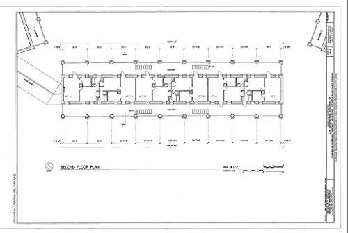Historic Pictoric Structural Drawing HABS LA,17-BATRO,8B- (Sheet 3 of 7) - U.S. Barracks, Building B, Riverside Mall at Spanish Town Road, Baton Rouge, East Baton Rouge Parish, LA 66in x ()