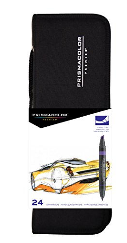 Prismacolor Premier Double-Ended Art Markers, Fine and Chisel Tip, 24-Count with Carrying Case