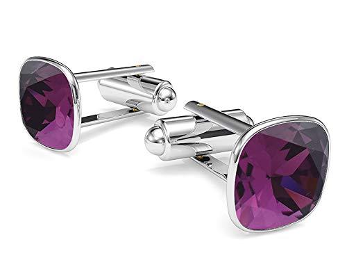Purple Swarovski Crystal Silver Plated Cufflinks - Beforya Paris - Cufflinks - Amethyst - 925 Sterling Silver - with SQUARE Swarovski - 925 Sterling Silver Beautiful Men's Cufflinks with Gift Box