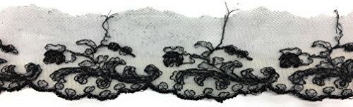Fancy 2 Inch Black Embroidery Edging on White tulle Scalloped Embroidered Net Trim Ribbon -2 yards - 2 Yard