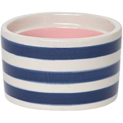 "C.R. Gibson ""L Monogram Blue Striped and Pink Interior Small Ceramic Trinket and Jewelry Box, 2.5"" W x 2"" H x 2.5"" D"