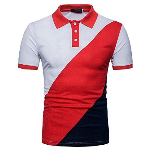 e3c48547 GREFER Men's Lapel Casual Slim Patchwork Short Sleeve T Shirt Top Polo Shirt  - Buy Online in KSA. Apparel products in Saudi Arabia.