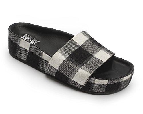 Jane and the Shoe Women's Kamila Black/White Buffalo Plaid Flannel One Band Plattform Slide Size 9 (Wedge Band Slides)