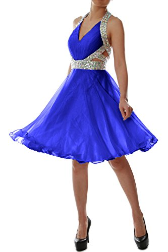 MACloth 2016 Women Halter V Neck Short Cocktail Dress Wedding Party Formal Gown Azul Real