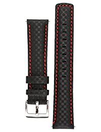 Signature Carbon watch band. Replacement watch strap. Genuine leather. Silver Buckle (24 mm - extra-long, Black with Red)