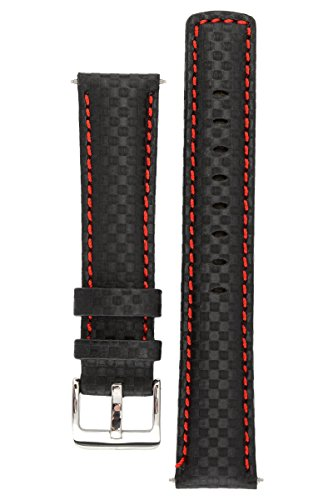 Signature Carbon black with red 22 mm watch band. Replacement watch strap. Genuine leather. Silver - Leather Carbon Black