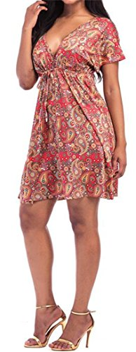 Belt Womens Line 1 Rise High Dresses Beach Flared Neck A JSYAU Thin V Deep U0qdqHTx