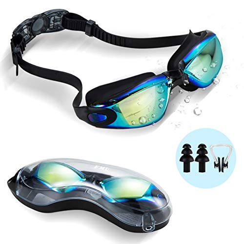 FMU Swim Goggles, Swimming Goggles No Leaking Anti Fog UV Protection Triathlon Swim Goggles with Nose Clips + Ear Plugs for Adult Men Women Youth Kids Child