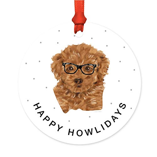 - Andaz Press Preppy Dog Art Round Metal Christmas Ornament, Poodle in Black Glasses, 1-Pack, Birthday Present Ideas for Him Her Dog Lover, Includes Ribbon and Gift Bag