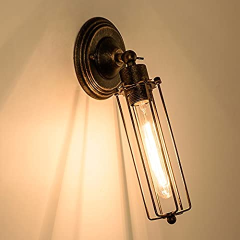 Vintage Wall Sconce Industrial Antique Oil Rubbed Bronze Mini Wire Cage Wall Lamp ;Moonkist (Bronze)