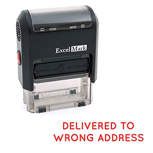 Delivered to Wrong Address Self Inking Rubber Stamp - Red Ink (ExcelMark A1539)