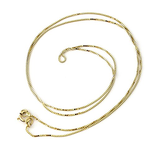 14k Yellow, White or Rose Gold 0.50mm Box Chain Necklace