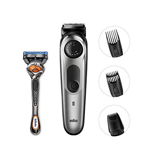 Braun BeardTrimmer BT5065 Beard Trimmer & Hair Clipper, Mini Foil Shaver Attachment, Black/Silver