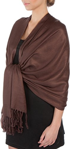 Sakkas Large Soft Silky Pashmina Shawl Wrap Scarf Stole in Solid Colors - CoffeeBean ()