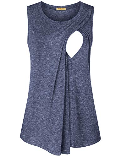 - Baikea Womens Sleeveless Breastfeeding Shirts Asymmetrical Nursing Tank Tops Blue Grey