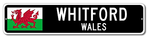 Wales Flag Sign - WHITFORD, WALES - Custom City Flag Sign - 4