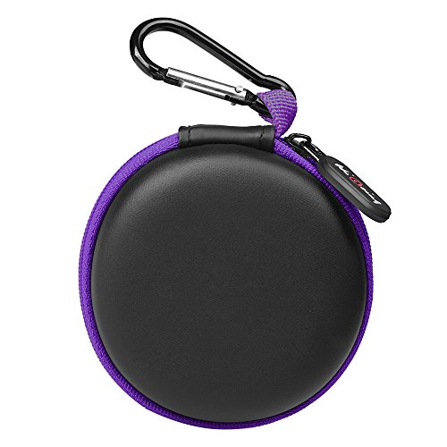 Headphone Case, Portable Protection Travel Carrying Cases with Carabiner_Purple