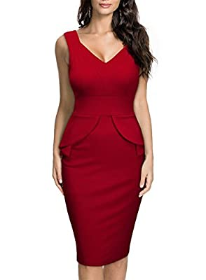 Miusol Women's Deep V Neck Sleeveless Peplum Slim Business Pencil Midi Dress
