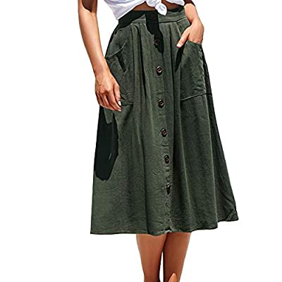 VIGVOG Women's Ethnic Plus-Size African Print Pull-on Pleated Midi A-line Skirt