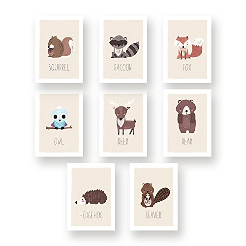 Baby Beginnings Nursery Posters (Woodland Nursery Decor, Set of Eight Unframed Prints, Boho Decor, Wall Decor Kids, Hedgehog, Squirrel, Owl, Deer Beaver, Fox, Bear Raccoon, Baby Registry, Dream Room Decor, Nursery Woodland Decor)
