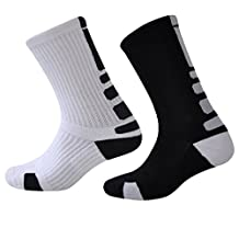 Men Compression Cushion Cotton Sport Crew Sock Soft Thick 2-Pack