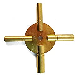 New Brass Universal Clock Key for Winding Clocks 4 Prong Even Numbers (5190)